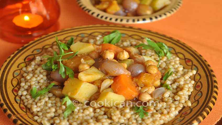 Pear Couscous with Pumpkin and Vegetables